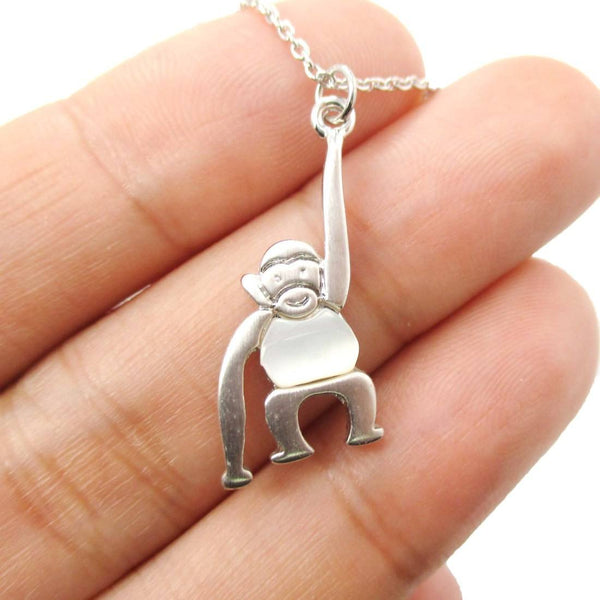 Adorable Monkey Chimpanzee Animal Themed Pendant Necklace in Silver | DOTOLY | DOTOLY