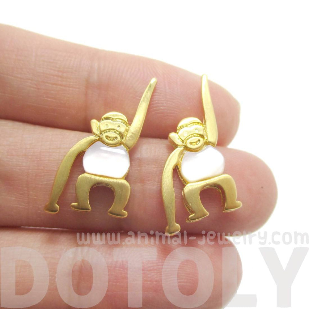 Monkey Chimpanzee Animal Themed Stud Earrings in Gold