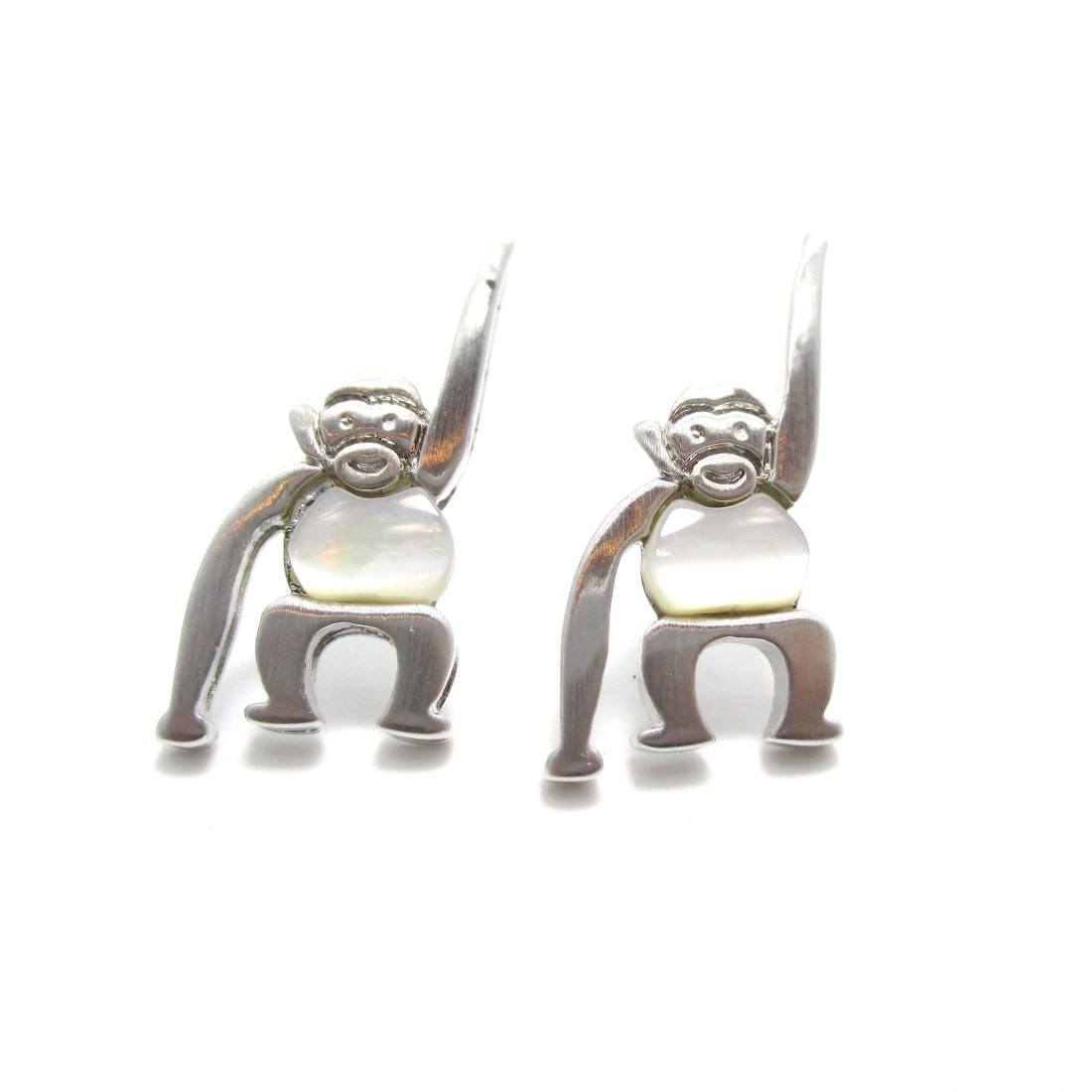 Monkey Chimpanzee Animal Themed Stud Earrings in Silver