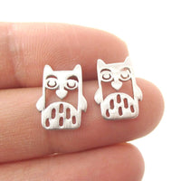 Adorable Owl Bird Face Shaped Stud Earrings in Silver | Animal Jewelry | DOTOLY