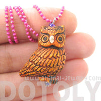 Adorable Owl Bird Shaped Porcelain Ceramic Animal Pendant Necklace