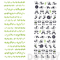 Cute Panda Bear and Bamboo Shaped Animal Themed Stickers | 2 Sheets