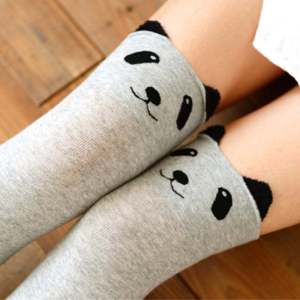 Adorable Panda Bear Animal Themed Over the Knee Thigh High Cotton Socks in Light Grey | DOTOLY