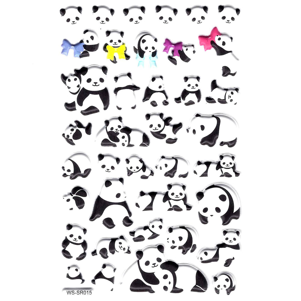 Adorable Panda Bear Cubs Animal Themed Puffy Stickers for Scrapbooking