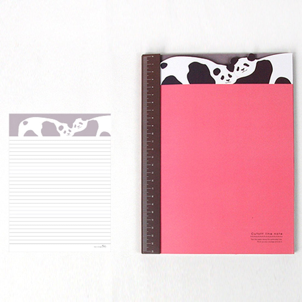 Adorable Panda Bear Patterned Lined Notebook Notepad with Ruler