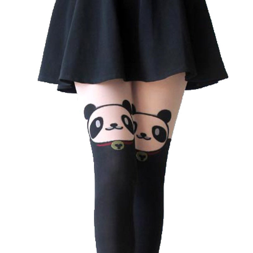 Adorable Panda Bear Print Mock Thigh High Pantyhose Tights in Black