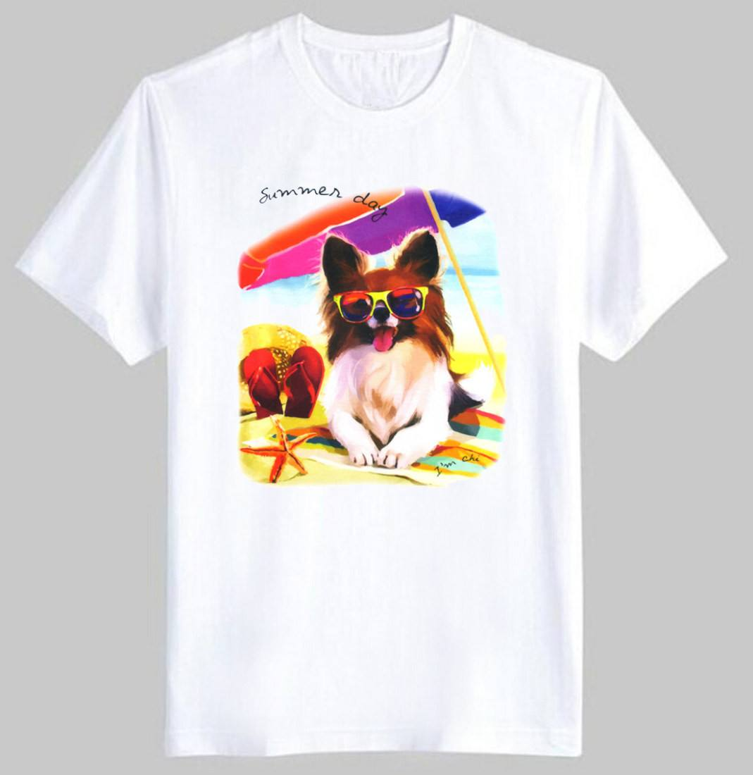 Adorable Papillon Toy Spaniel Puppy Graphic Print T-Shirt in White