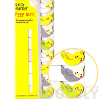 Parakeet Bird Shaped Memo Post-it Peep Out Sticky Tabs