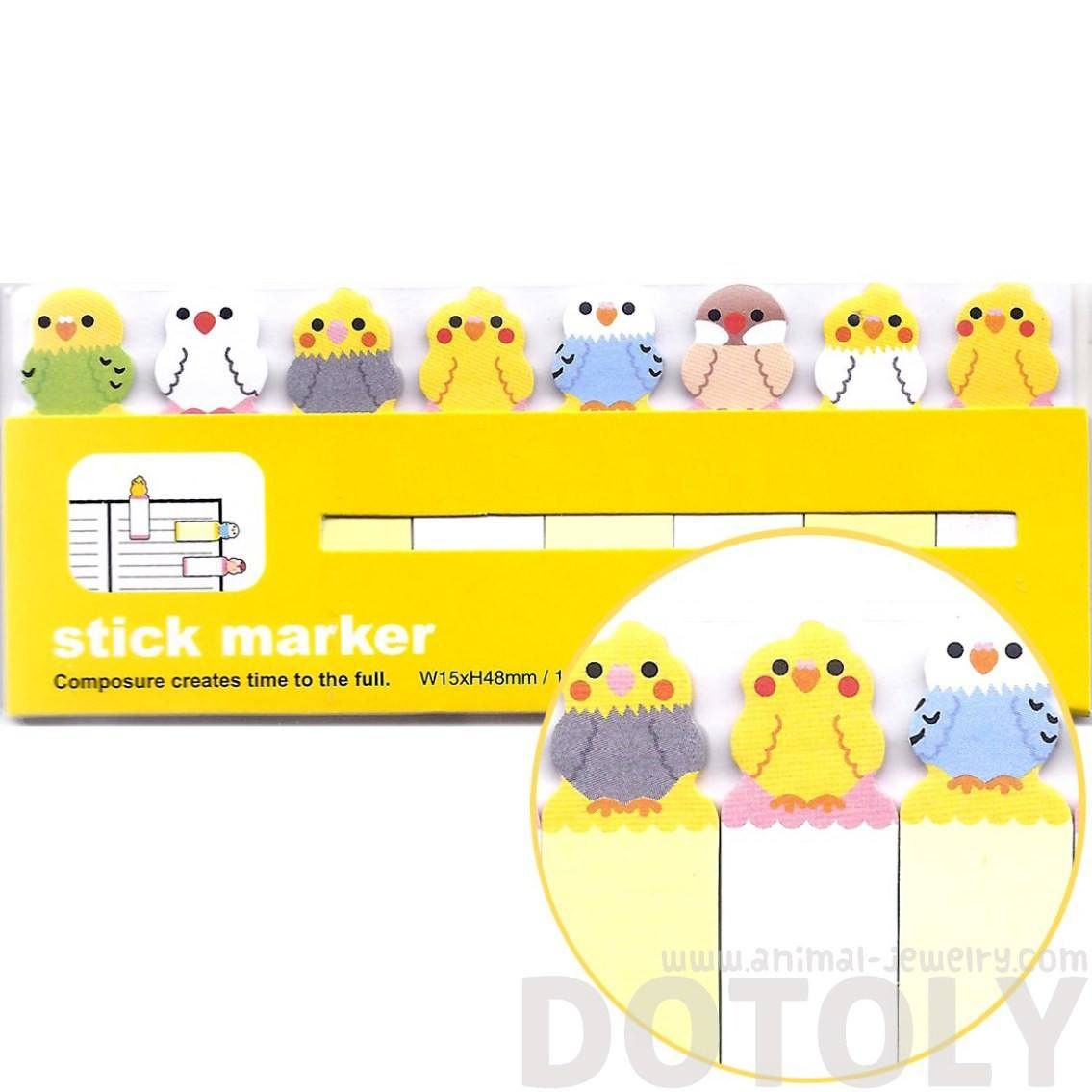 Adorable Parakeet Bird Shaped Sticky Memo Post-it Index Bookmark Tabs