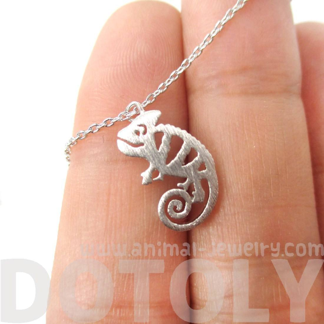 Adorable Pascal Chameleon Shaped Cut Out Charm Necklace in Silver