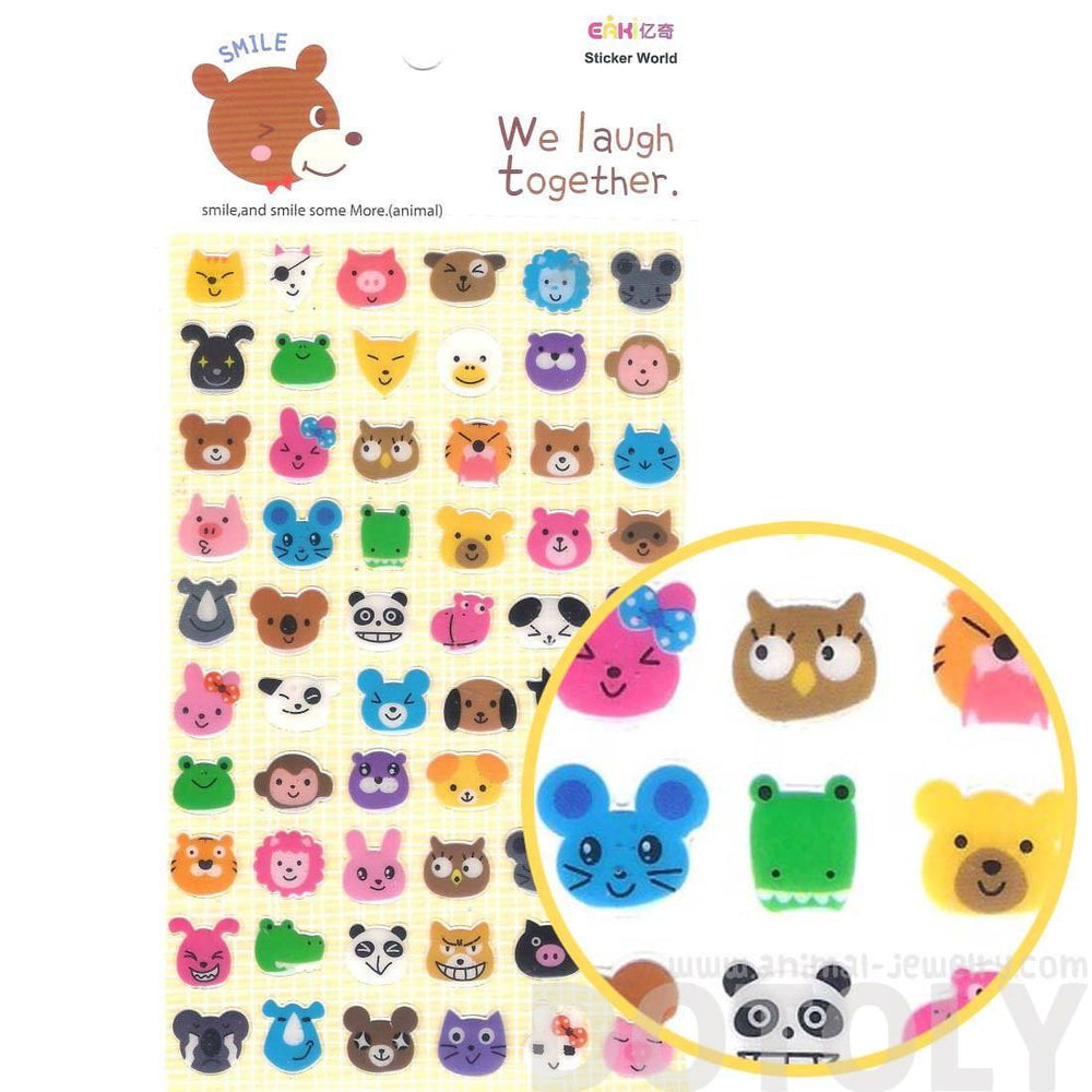 Adorable Pig Bunny Owl Cat Bear Animal Face Shaped Jelly Stickers
