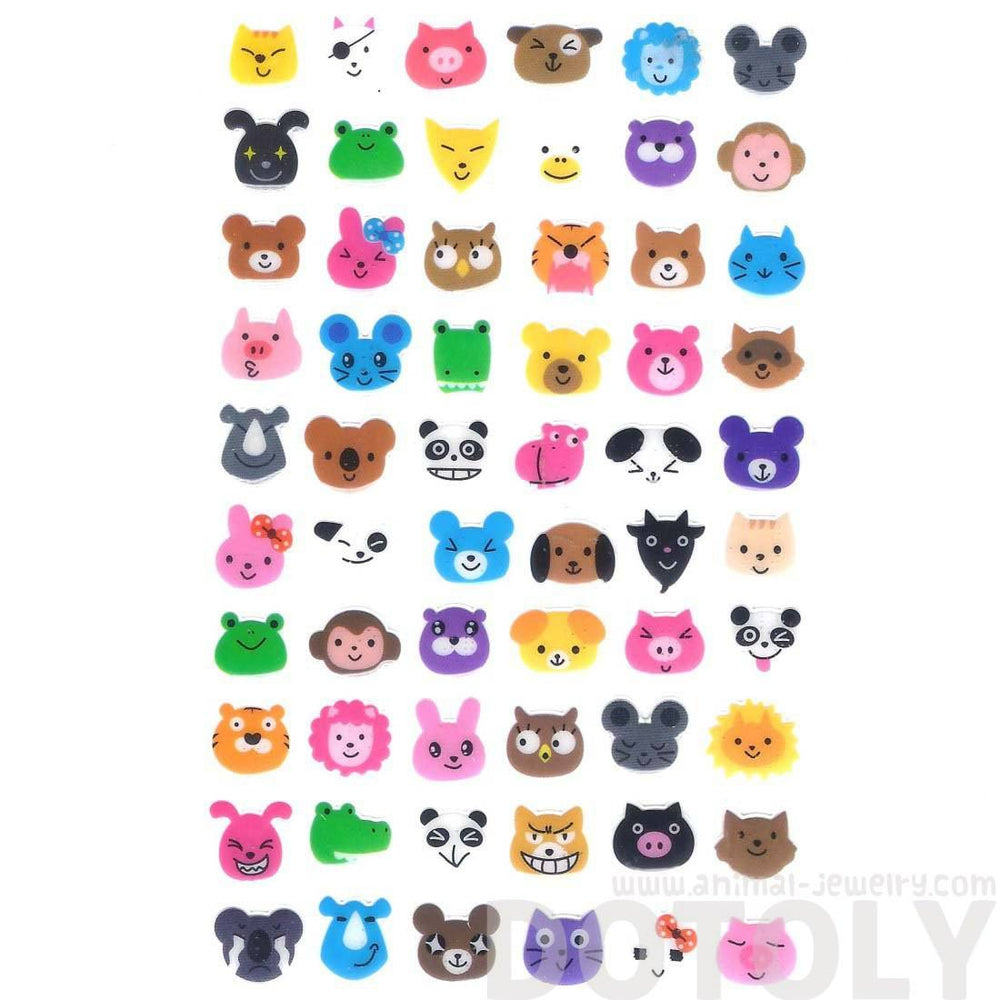 Adorable Pig Bunny Owl Cat Bear Animal Face Shaped Jelly Stickers for Scrapbooking and Decorating | DOTOLY