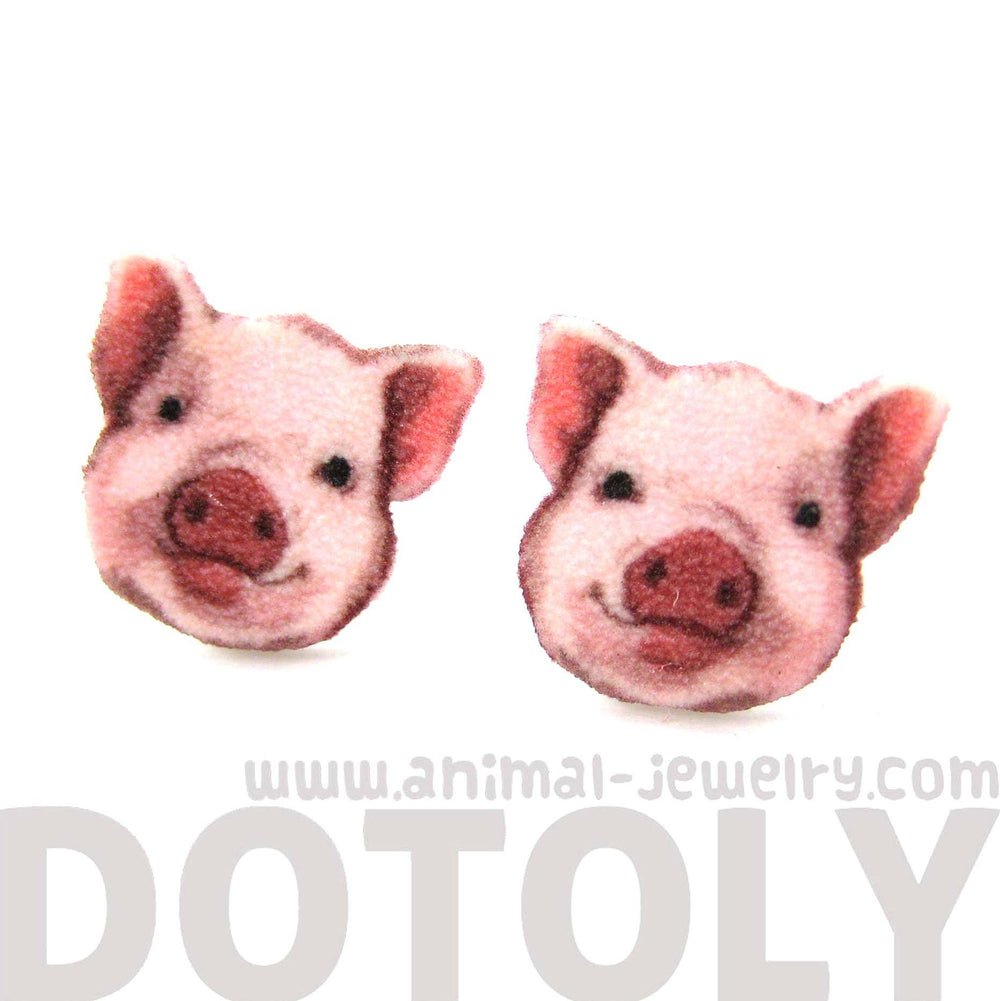 Adorable Pig Piglet Animal Head Shaped Stud Earrings | Shrink Plastic