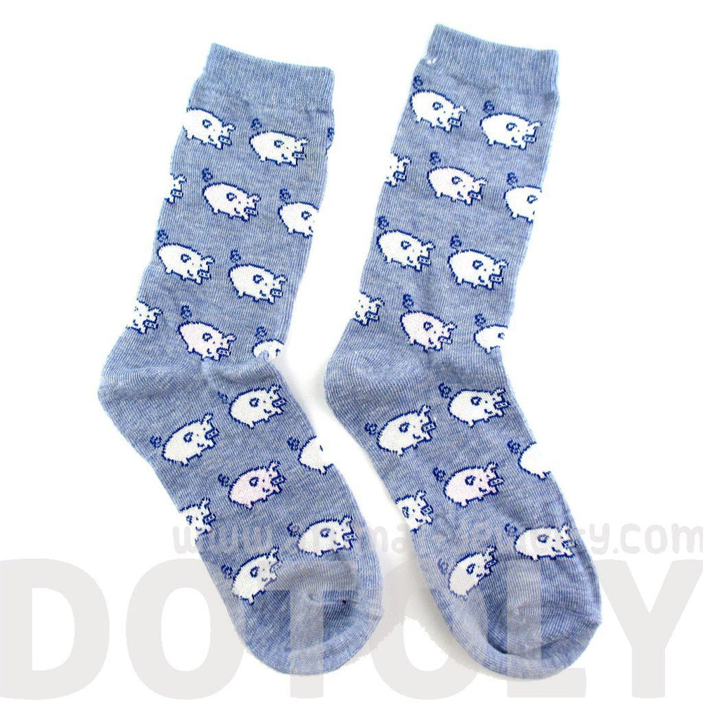 Adorable Pig Piglet Print Socks in Blue for Women