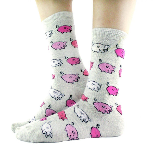Adorable Pig Piglet Print Socks in Light Grey for Women | DOTOLY