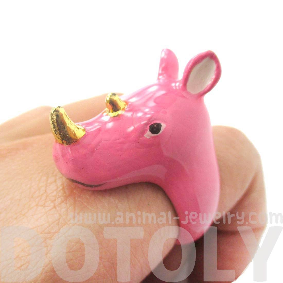 Pink Rhino Rhinoceros Shaped Enamel Animal Ring in US Size 6 and 7