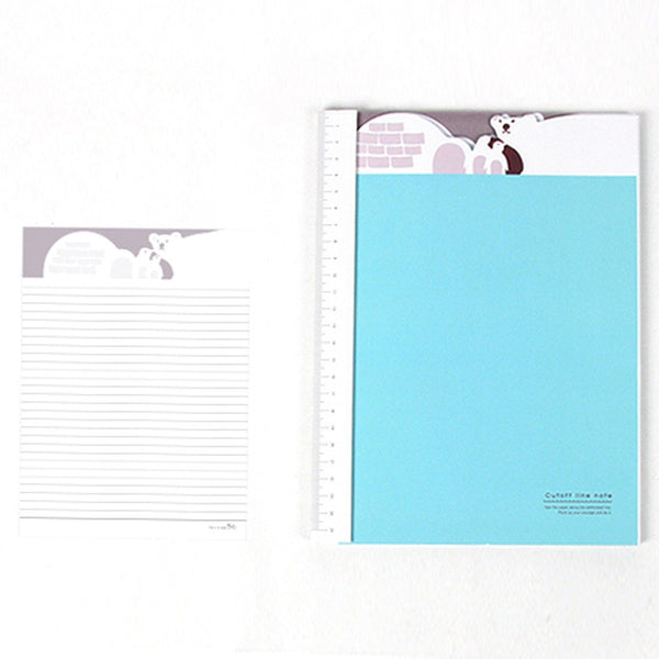 Adorable Polar Bear Patterned Lined Notebook Notepad with Ruler