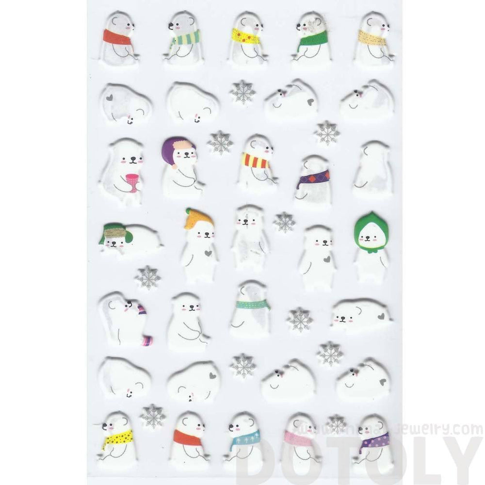 Adorable Polar Bear Shaped Animal Themed Illustrated Puffy Stickers for Scrapbooking | DOTOLY