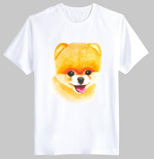 Adorable Pomeranian Puppy Face Graphic Print T-Shirt in White | DOTOLY