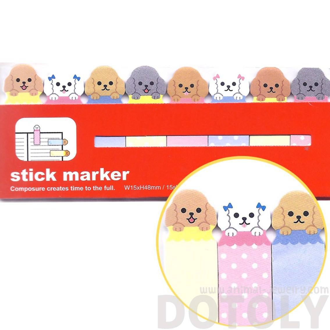 Adorable Poodle Puppy Dog Animal Sticky Memo Post-it Bookmark Tabs