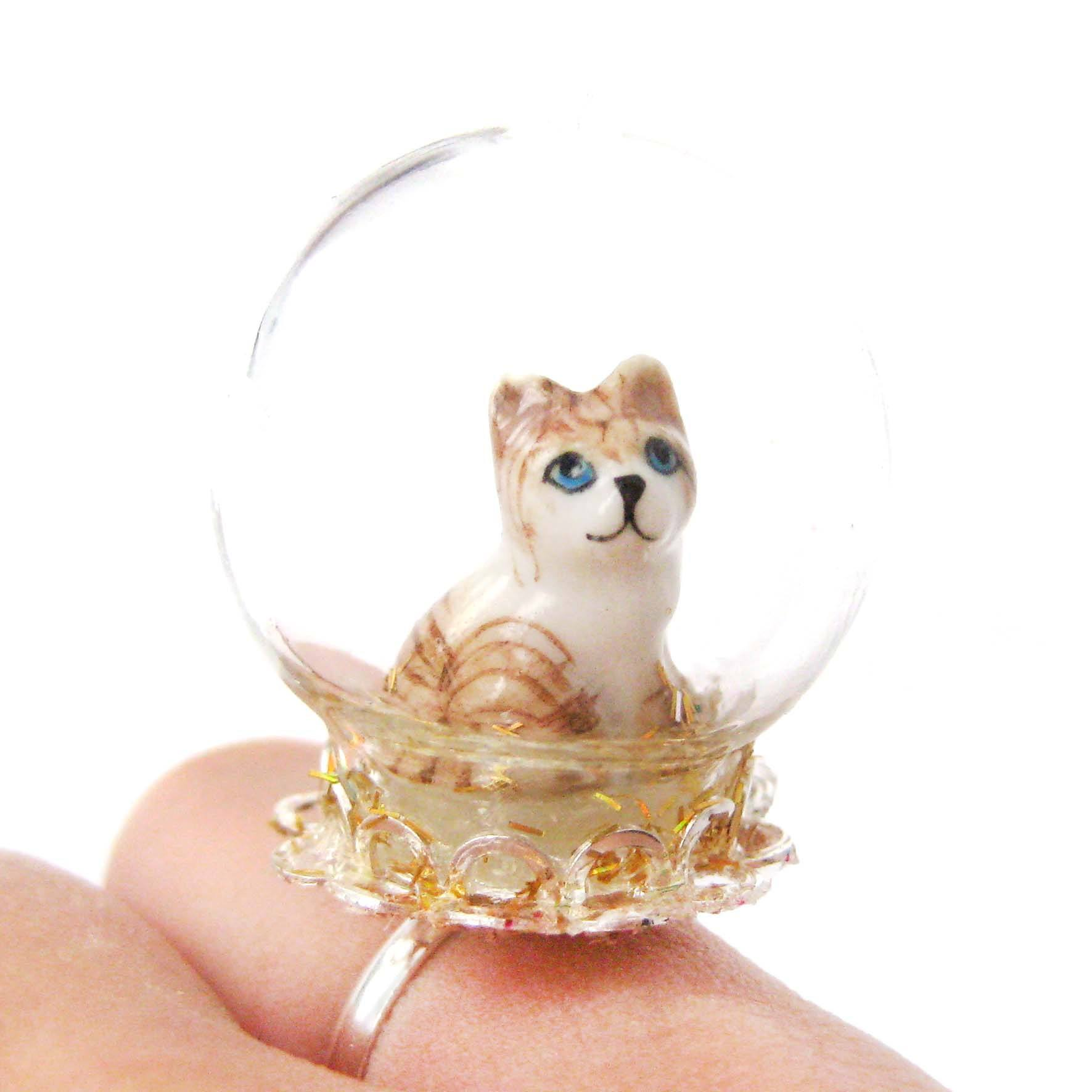 Porcelain Striped Kitty Cat Glass Snow Globe Bubble Adjustable Ring