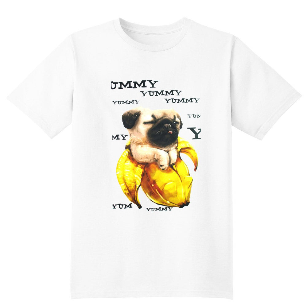 Adorable Pug In a Banana Illustrated Graphic Print T-Shirt | DOTOLY | DOTOLY