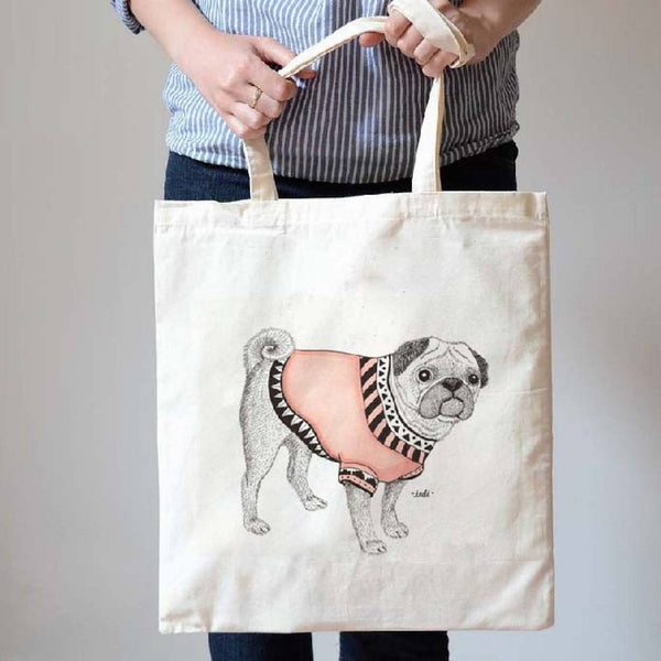 Adorable Pug in a Sweater Animal Inspired Natural Canvas Tote Bag