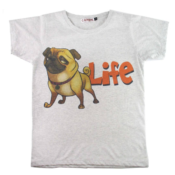Adorable Pug Life Illustrated Graphic Print T-Shirt | DOTOLY