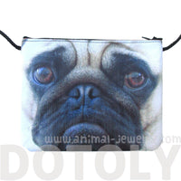 Adorable Pug Puppy Dog Face Print Rectangular Shaped Cross Body Bag | Gifts for Dog Lovers | DOTOLY
