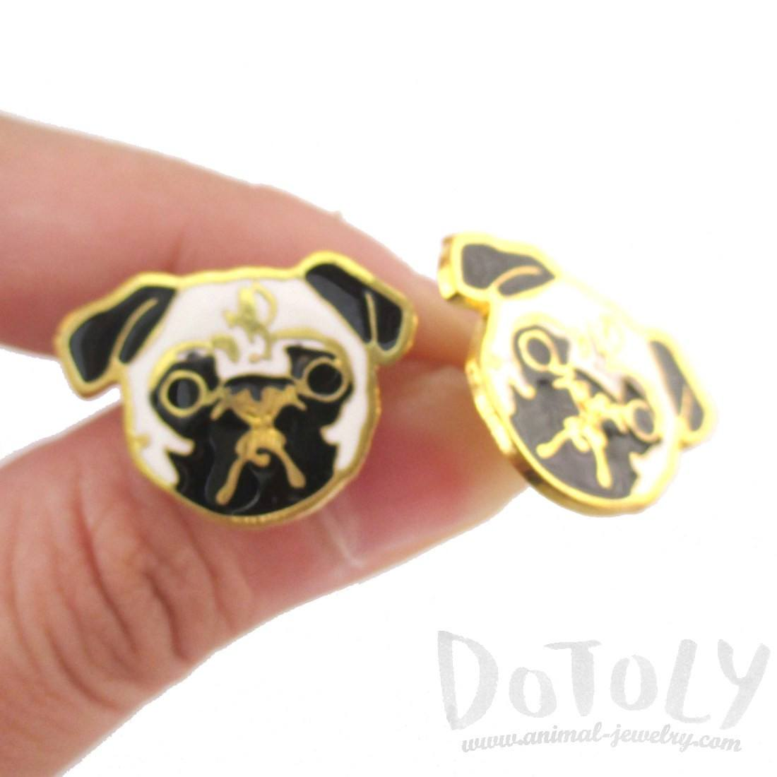 Adorable Pug Puppy Dog Face Shaped Stud Earrings | Limited Edition