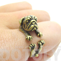Adorable Pug Puppy Dog Shaped Animal Wrap Around Ring in Brass | Sizes 6 to 9 | DOTOLY
