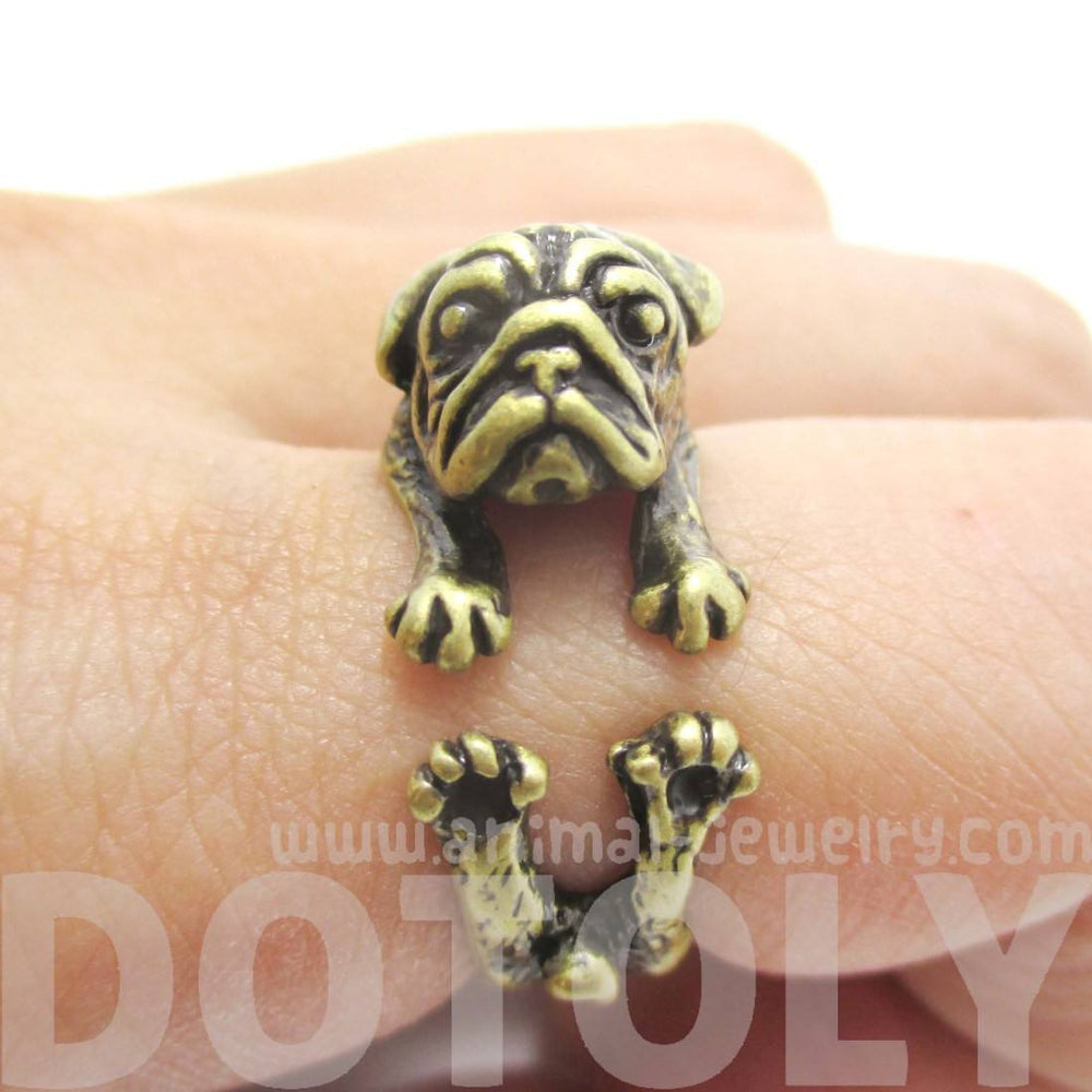 Pug Puppy Dog Shaped Animal Wrap Around Ring in Brass