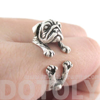 Pug Puppy Dog Shaped Animal Wrap Around Ring in Silver