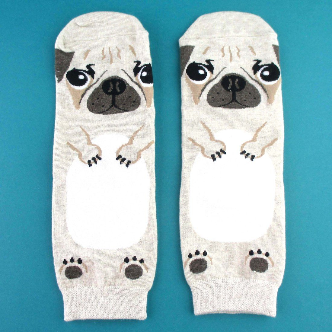 Adorable Pug Puppy Dog Shaped Cotton Socks in Khaki | DOTOLY