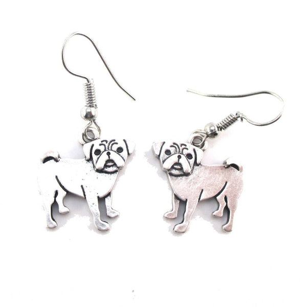Adorable Pug Puppy Dog Shaped Dangle Earrings in Silver | DOTOLY