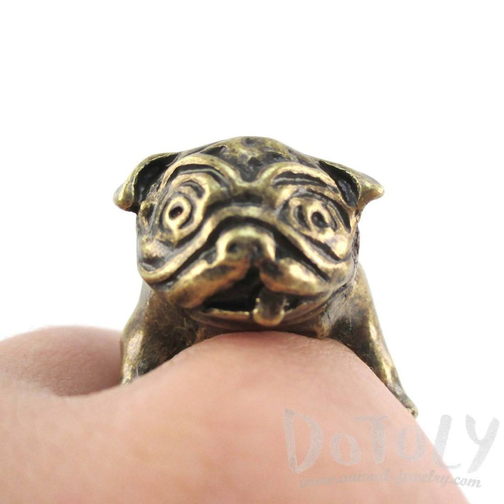 Adorable Pug Shaped Bulldog Puppy Dog Adjustable Animal Ring in Brass | DOTOLY