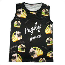 Adorable Pug Taco Graphic Print Oversized Unisex Tank Top in Black