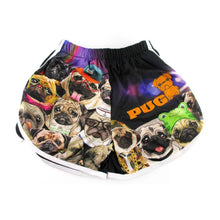 Adorable Pugs Wearing Costumes Collage Print Elastic Waist Shorts
