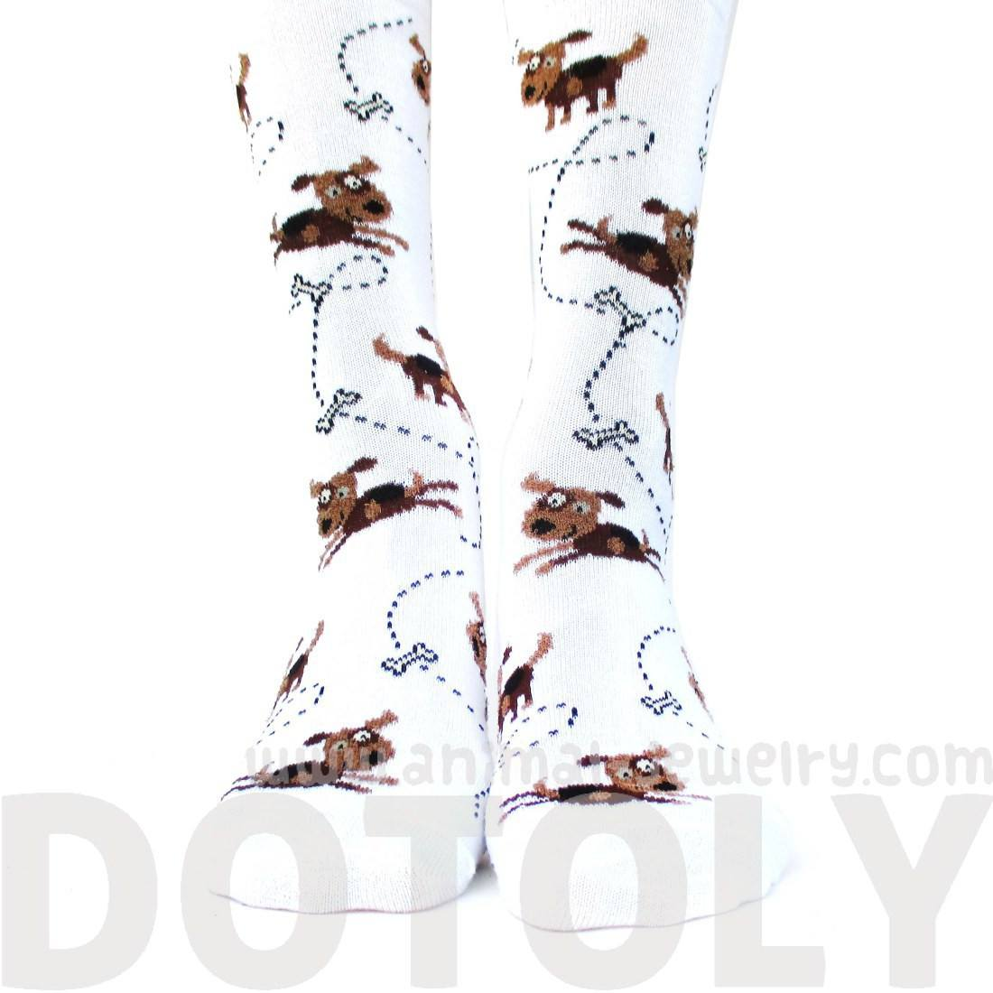 Adorable Puppy Dog and Bone Novelty Print Calf High Socks in White