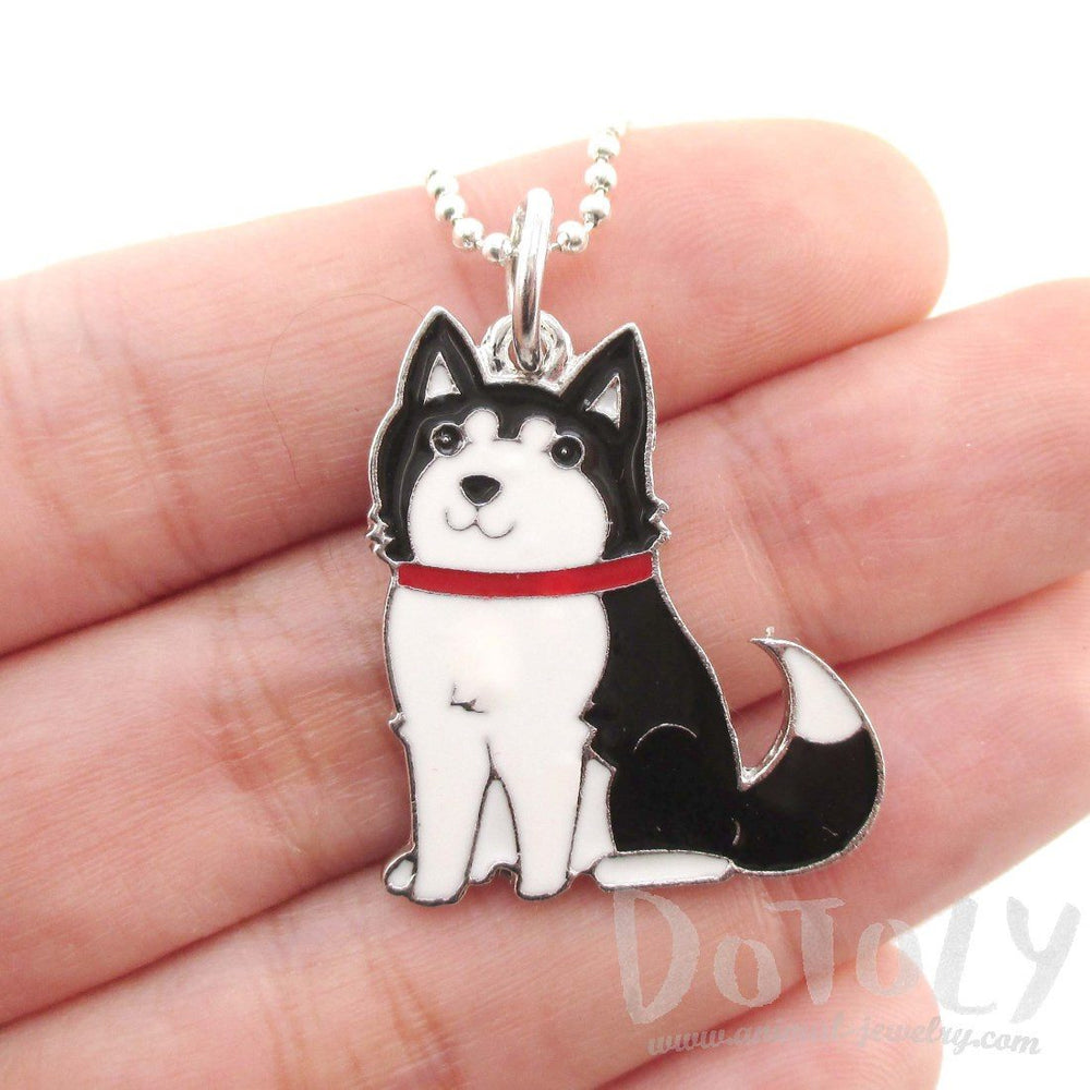 Cute Puppy Dog Shaped Animal Pendant Necklace in Black