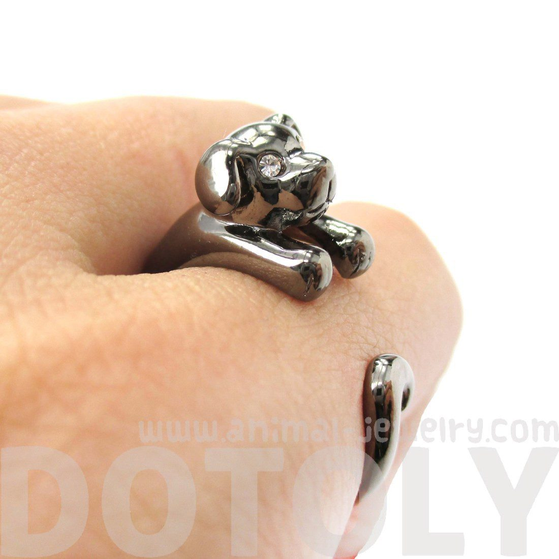 Adorable Puppy Dog Shaped Animal Wrap Around Ring in Gunmetal Silver