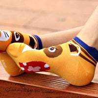 Cute Raccoon Animal Themed Cotton Ankle Socks in Brown
