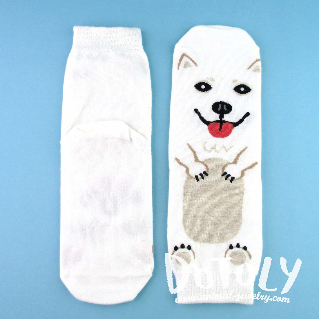 Adorable Samoyed Puppy Dog Shaped Cotton Socks in White | DOTOLY