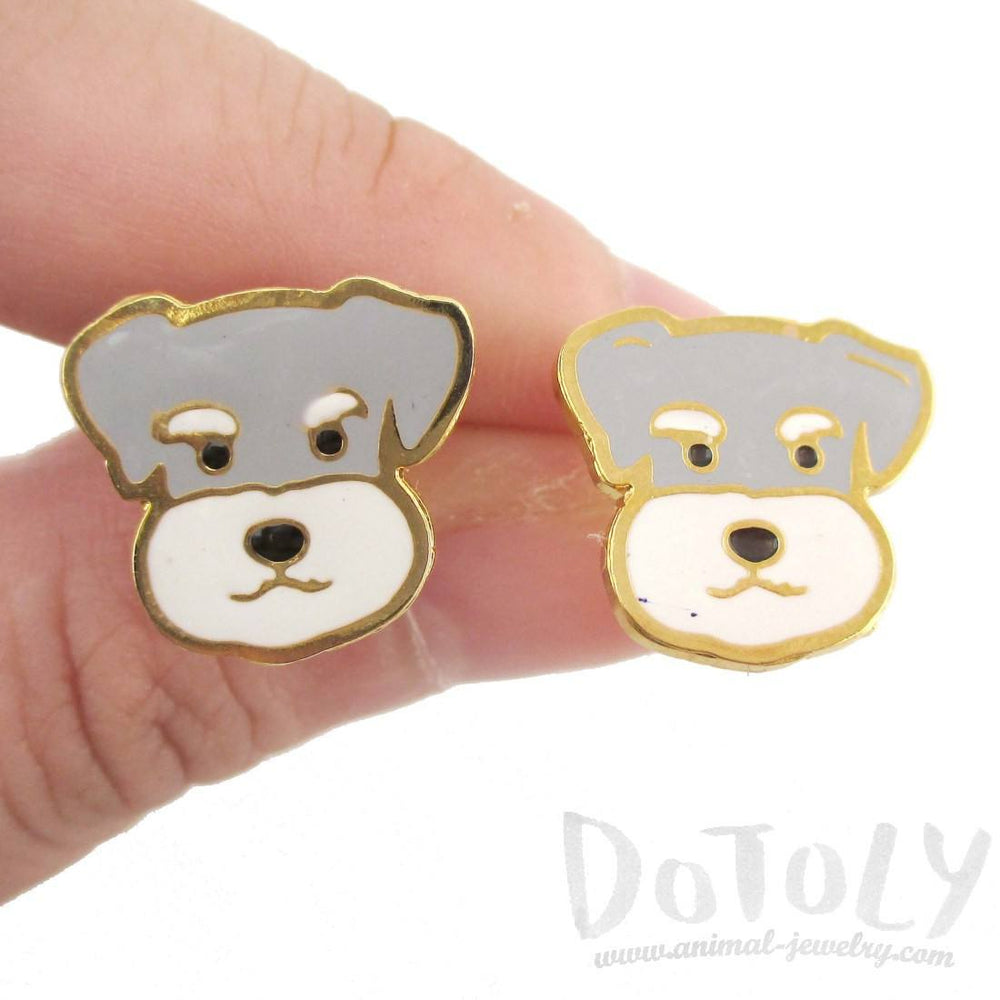 Adorable Schnauzer Puppy Dog Face Shaped Stud Earrings | DOTOLY