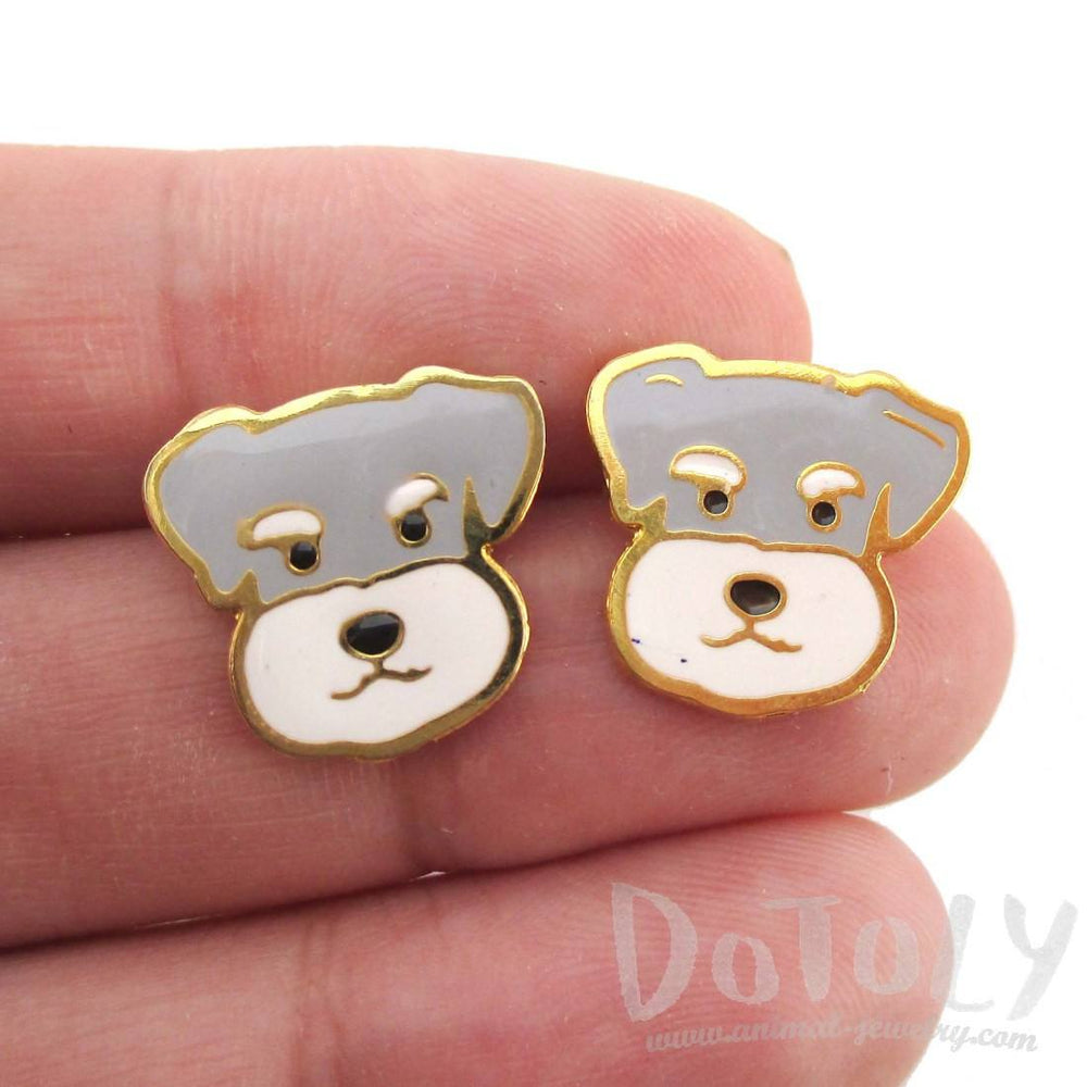 Adorable Schnauzer Puppy Dog Face Shaped Stud Earrings | Limited Edition | DOTOLY