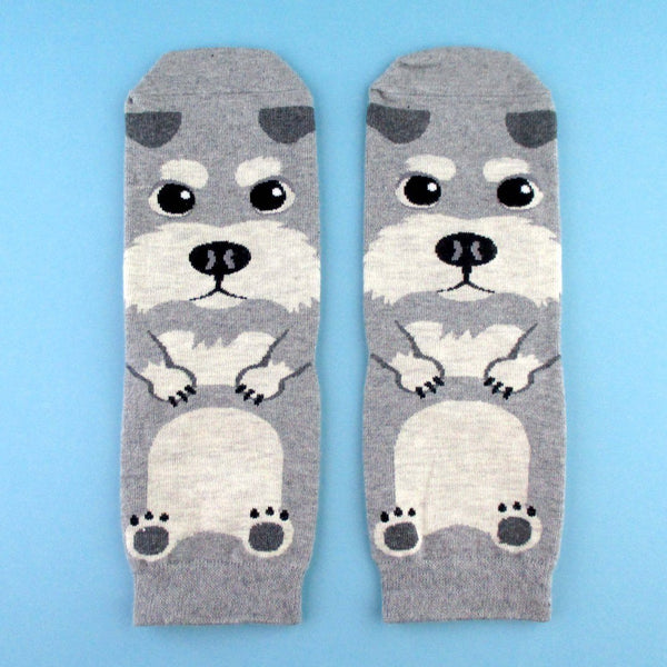 Adorable Schnauzer Puppy Dog Shaped Cotton Socks in Grey | DOTOLY