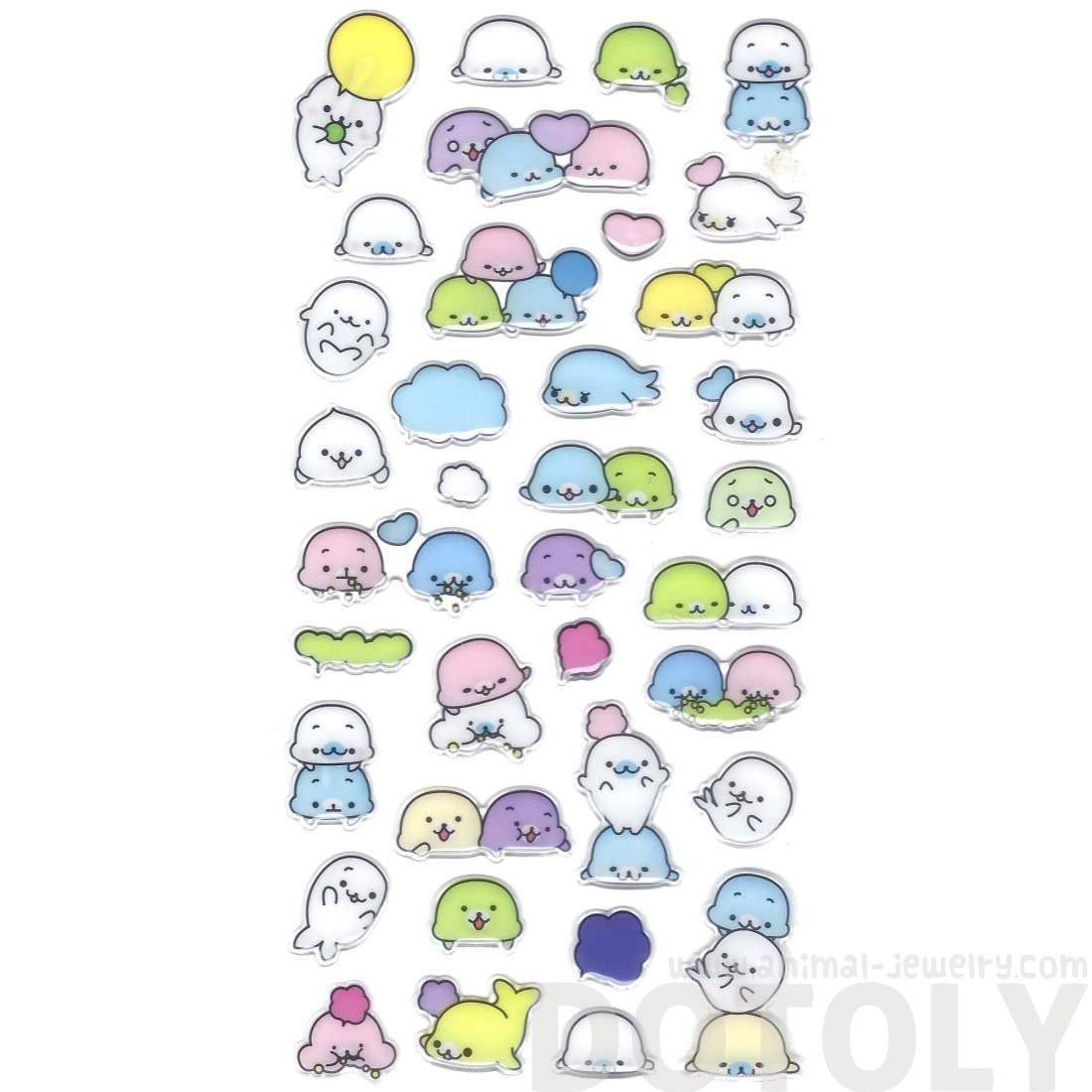 Adorable Sea Lions Seals Shaped Animal Jelly Stickers for Scrapbooking