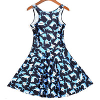 Adorable Shark All Over Print Sleeveless Skater Dress in Black