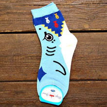 Adorable Shark Bite Socks Animal Shaped Short Cotton Socks for Women