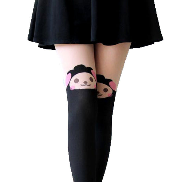 Adorable Sheep Alpaca Lamb Print Mock Thigh High Pantyhose Tights in Black | DOTOLY | DOTOLY